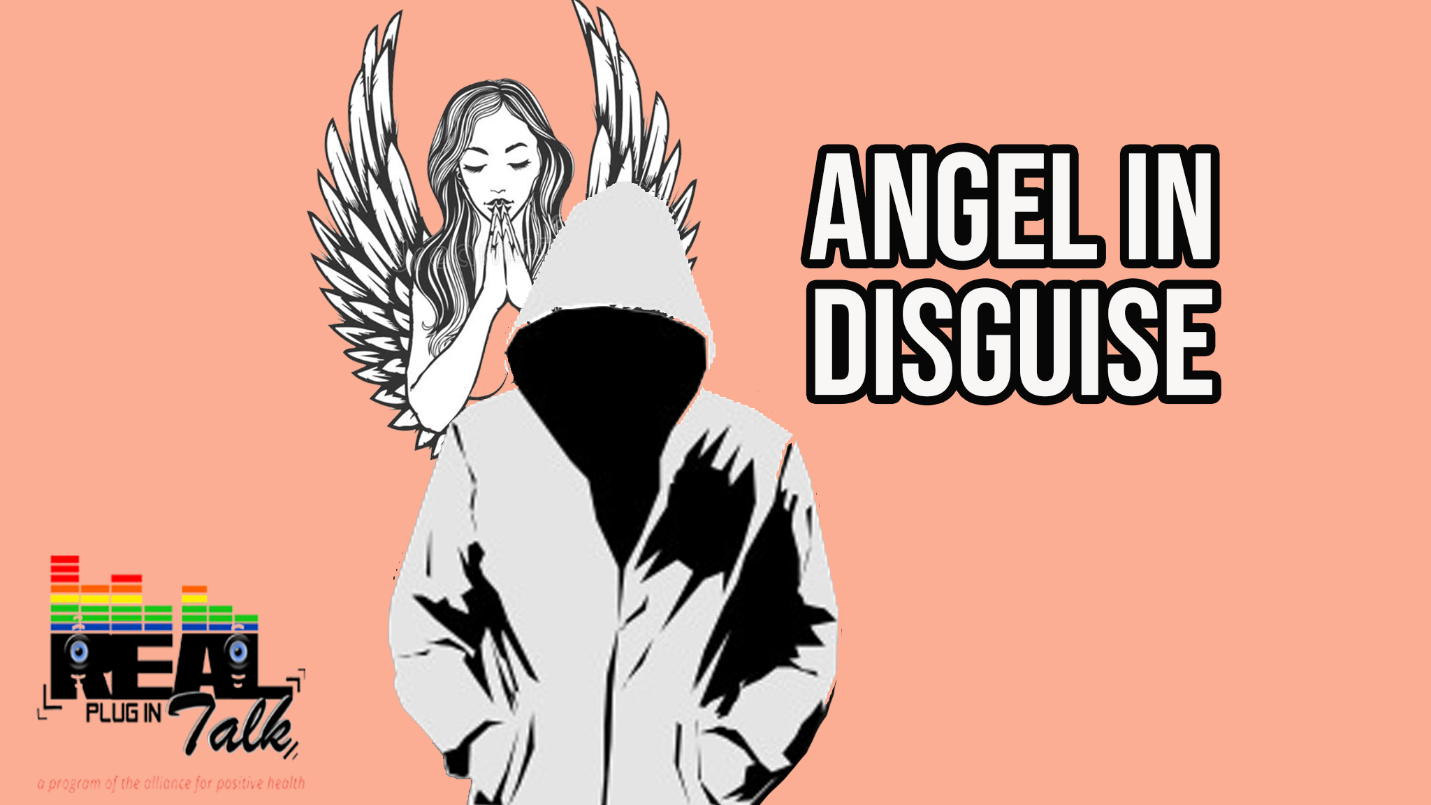 Graphic of an angel over the shoulder of someone walking with a hoodie with the title