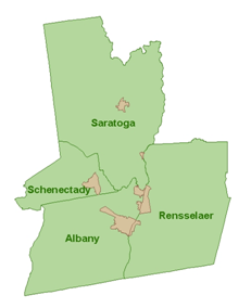 Section of map depicting the counties of Saratoga, Schenectady, Albany and Rensselaer
