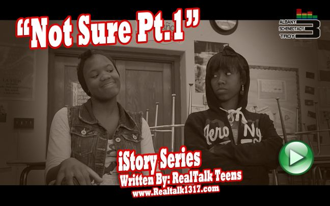 Image of two women eyeing each other with the title 'Not Sure Pt.1: iStory Series written by RealTalk Teens.